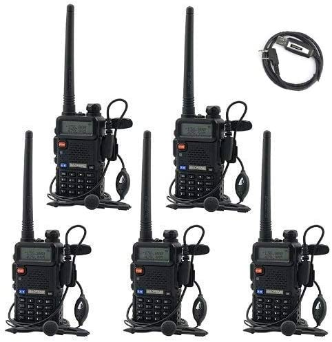 BaoFeng UV-5R UHF VHF Dual Band Two Way Radio Walkie Talkie with 5 Earpieces 1 Programming Cable, 5 Pack
