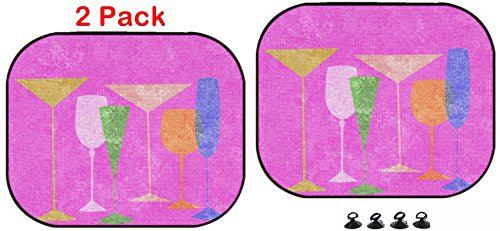Luxlady Car Sun Shade Protector Block Damaging UV Rays Sunlight Heat for All Vehicles, 2 Pack Image ID: 23868975 Assorted Stylized Glasses for Martini Wine Brandy etc on (Assorted Brandy)
