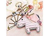 Yunqir Lightweight Leather Crystal Pony and Scarf Keychain Decor Purse Rhinestone Pendant Car Holder Key Ring Gift_Pink