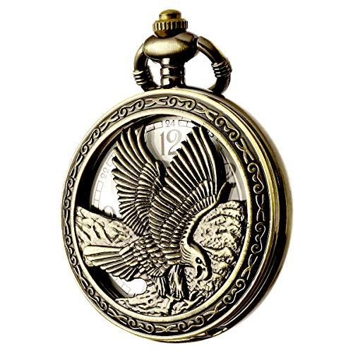 (BOSHIYA Design Pocket Watch Chain Quartz Movement Arabic Numerals Half Hunter for Eagle Scout (Classic Hollow Section - Eagle))