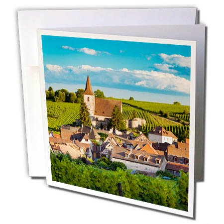 Wine Alsace White (3dRose Danita Delimont - Vineyards - Town of Hunawihr along the wine route, Alsace Haut Rhin, France - 12 Greeting Cards with envelopes (gc_277369_2))
