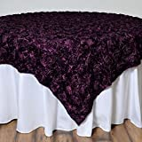 Tableclothsfactory Wonderland Rosette Table Overlay 72''x72'' - Eggplant (Table Toppers)