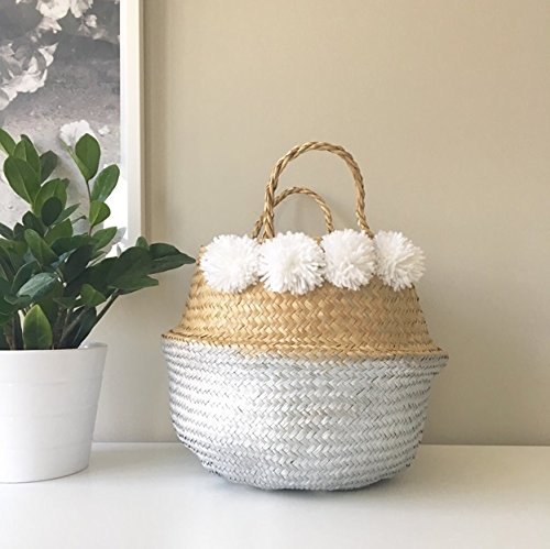 Medium: Seagrass Rice Belly Baskets Woven Weave Tote Basket for Storage, Laundry, Picnic, Plant Pot Cover, and Beach Bag (Silver Dipper with 8 Pompom, Medium by Heavenly Hands Craft