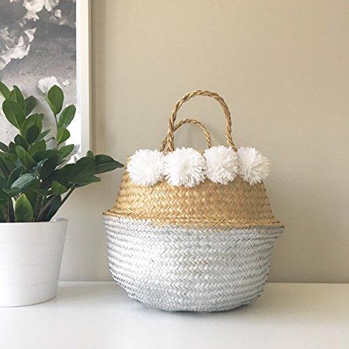 Natural y Plata Cruce con Pom Pom Sea Grass vientre Basket Panier Boule Storage Nursery Juguete lavandería grande de Pascua