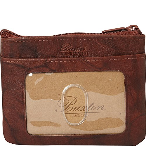 Buxton Cowhide Wallet - Buxton Heiress Pik-Me-Up I.D. Coin/Card Case, Mahogany
