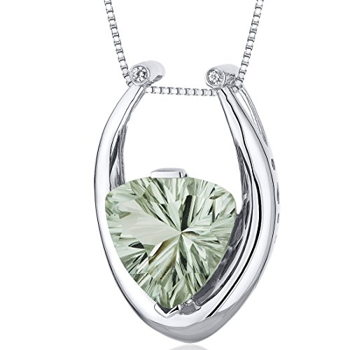 Concave Trillion Cut 5.00 carats Sterling Silver Rhodium Finish Green Amethyst Pendant