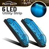 Partsam 4inch Surface Mount LED Utility Strip Blue Light Marker Lamp For Lighting/Decoration 2PCS