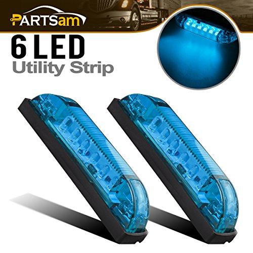 Partsam 2Pcs 4inch Boat Marine LED Utility Strip Light Bar Blue 6 Diodes Marker Lamp for Lighting/Decoration, Thin Line LED Trailer and Side Marker Light, Marine led Lights for Boats 12v