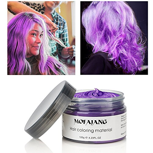 MOFAJANG Hair Color Wax, Instant Hair Wax, Temporary Hairstyle Cream 4.23 oz,Hair Pomades, Natural Hairstyle Wax for Men and Women (Purple) -