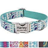 Personalized Dog Collar/Premium Custom Dog Collar with Name Plated/Stainless Steel Quick Release Buckle/Fashion Patterns Dog Collars/Laser Engraved/Turquoise Youngth Pattern in XS,S,M,L,XL