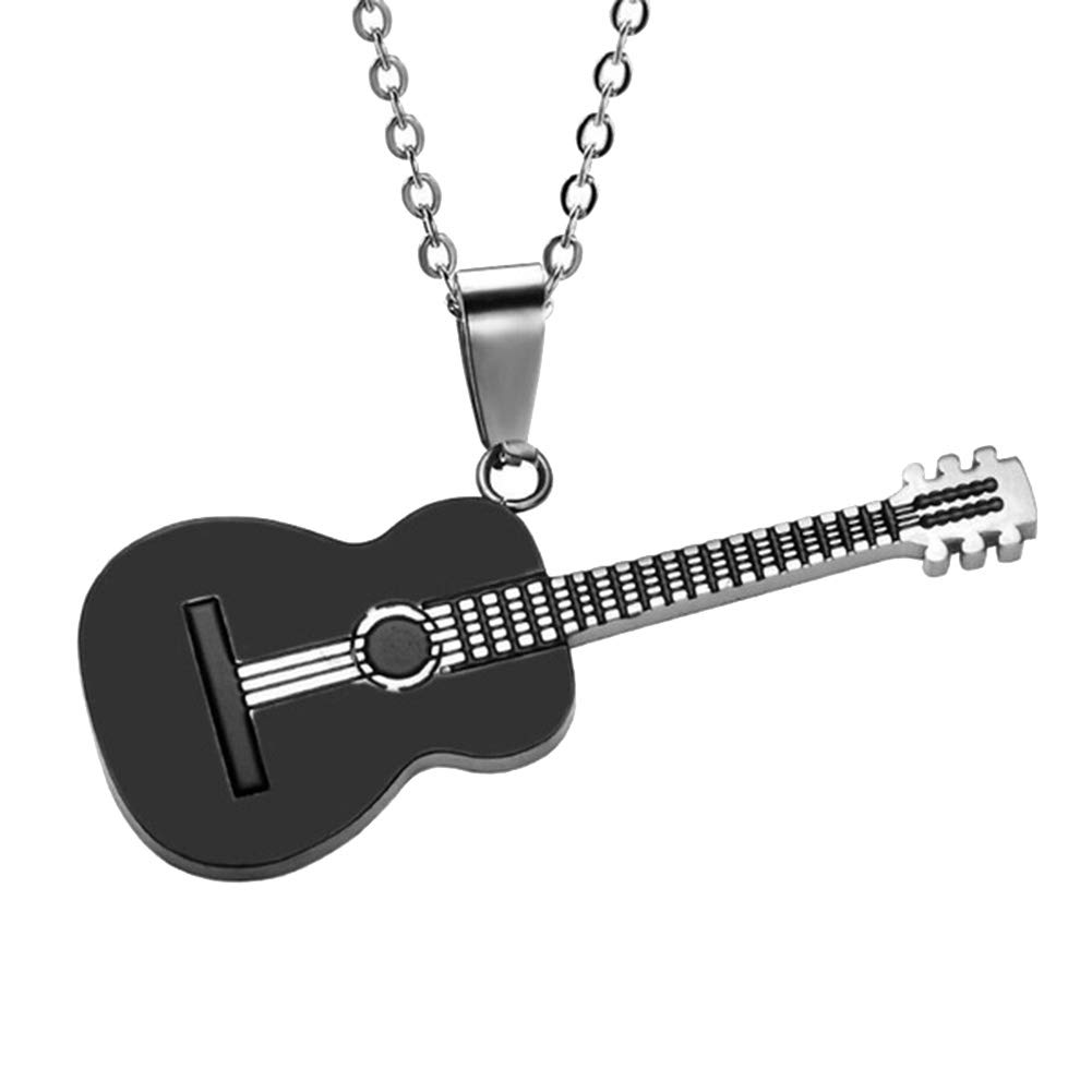 ywbtuechars Men Women Rock Guitar Pendant Stainless Steel Necklace Jewelry Musician Gift - Black