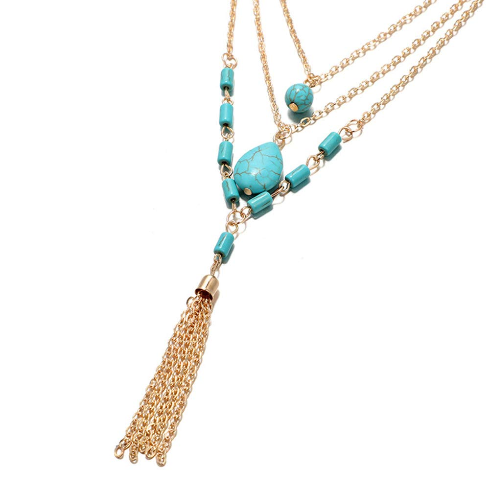 Everrikle Necklaces for women,Bohemia Women Multilayer Faux Turquoise Pendant Tassel Chain Necklace Jewelry,Mother's Day, Valentine's Day, Christmas, Holiday Gifts by Everrikle (Image #5)