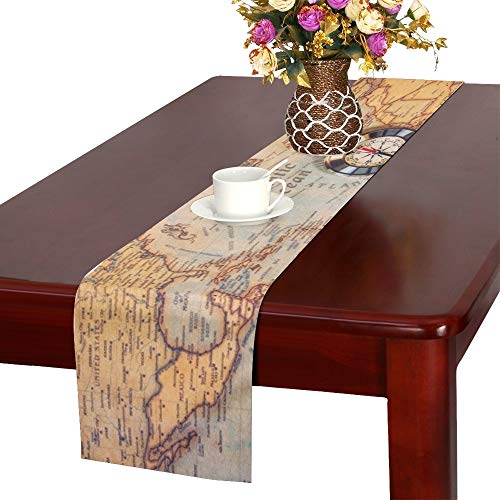 WHIOFE Columbus Day World Map Compass Table Runner, Kitchen Dining Table Runner 16 X 72 Inch for Dinner Parties, Events, Decor]()