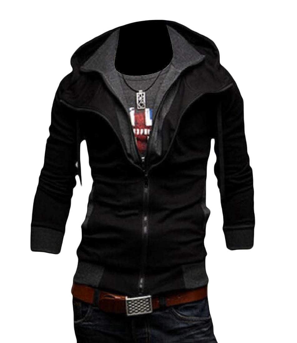 YUNY Mens Light Weight Long Sleeve Autumn Casual Fit Hood Jacket Black 3XL