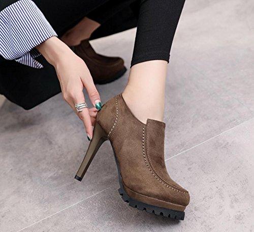 KHSKX-Schwarz Winter Neue Schuhe Runden Kopf Wasser Matt Fein Mit 11 Cm Hohen Absätzen Seitlicher Reißverschluss Stiefel 37