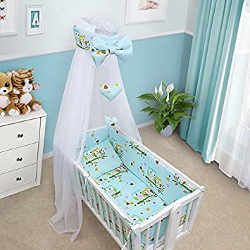 BABY BEDDING SET CRIB CRADLE 10 Pieces PILLOW DUVET COVER BUMPER CANOPY to fit Crib 90x40cm 100% COTTON (Sheep Yellow)