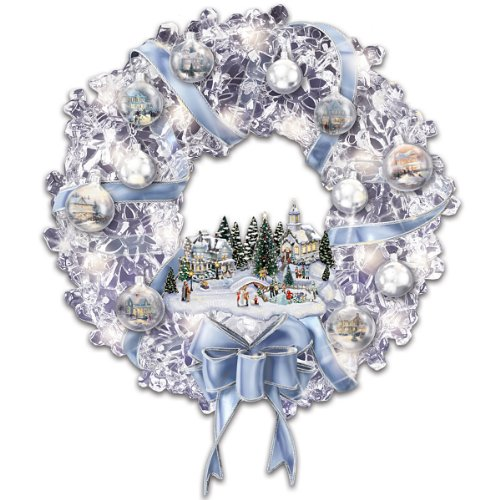 Thomas Kinkade Holiday Brilliance Crystal Wreath - Bradford Edition Ornaments