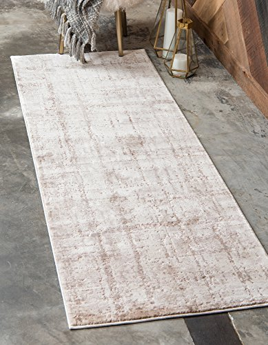 Unique Loom Uptown Collection by Jill Zarin Collection Textured Modern Beige Runner Rug (2' 2 x 6' 0) (Zara Rug Collection)