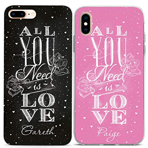 Lex Altern Matching Custom iPhone Case Xs Max Xr X 10 8 Plus 7 6s 6 SE 5s 5 Apple All You Need is Love TPU Quote Pink Black Boyfriend Girlfriend Protective Phone Cover Anniversary Print