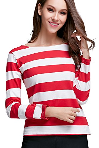 OUGES Women's Long Sleeve Stripe Pattern T-Shirts(Red White Stripe02,XXL)