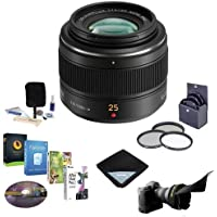 Panasonic 25mm f/1.4 Leica DG Summilux Aspherical Lens for Micro 4/3 System - Bundle - with 46mm Filter Kit, Flex Lens Shade, Cleaning Kit, Lens Wrap (15x15), Pro Software Package