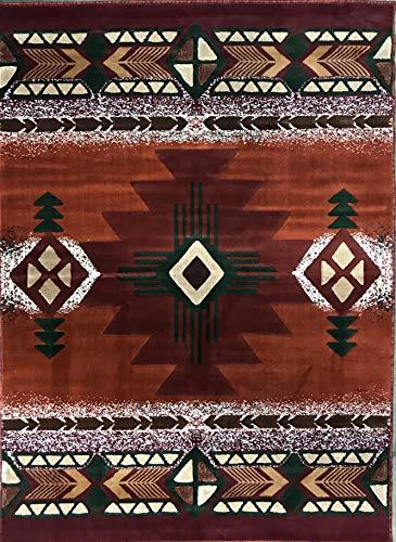 Southwest Native American Area Rug Rust Terra Cotta Burgundy & Green Beige Concord Design C318 (8 Feet X 10 - Area Burgundy Southwestern Rug