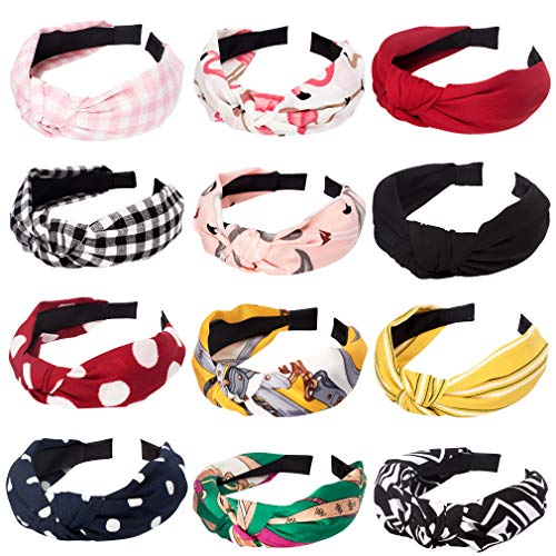 12 Packs Taomoder Fashion Hairbands for Women Chiffon Hairbands for Women Wide Headbands for Women Knotted Headbands for Women Hair Accessories for Women