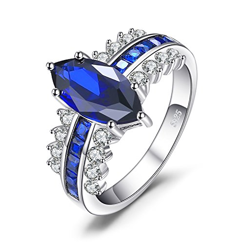 JewelryPalace Luxry 3.4ct Marquise Created Sapphire Square Created Blue Spinel Statement Ring 925 Sterling Silver Size 6