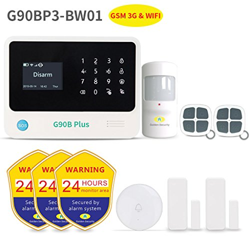 Home Security System,Golden Security touch screen keypad LCD display Wireless WIFI & GSM(3G) 2-in-1 with Auto Dial,Motion Detectors and more DIY Home Alarm System G90BP3-BW01 by Golden Security