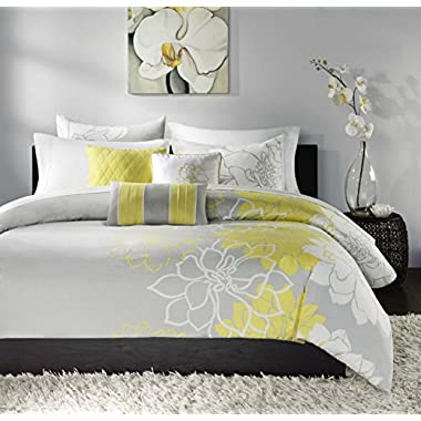 Madison Park Lola Duvet Cover Set, King, Yellow/Grey