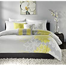 Madison Park Lola 6 Piece Printed Duvet Cover Set, King/ Cal King, Yellow