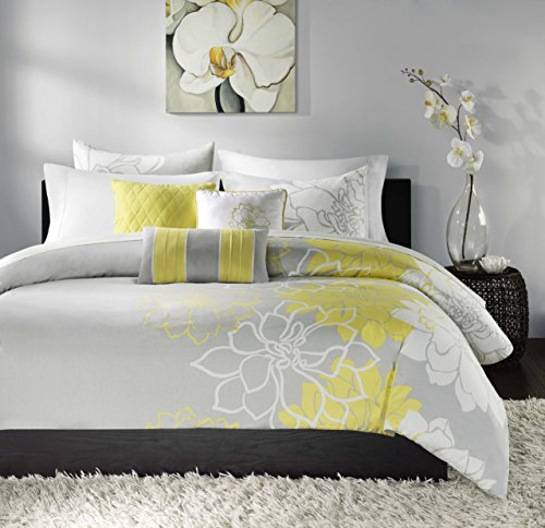 Madison Park Lola 6 Piece Printed Duvet Cover Set, Full/ Queen, Yellow