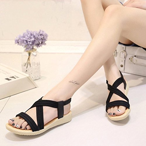 Outdoor Women Shoes Black ANBOO Peep Bohemia Elastic Leisure Flat Sandals Bandage Toe zdfqdgw