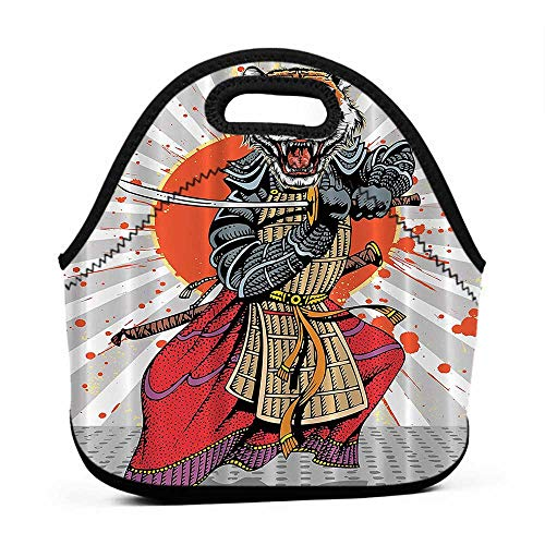 Convenient Lunch Box Tote Bag Anime Wild Ninja Cartoon Japanese,Masculine Tiger Leopard Samurai Sword Fighter Japan Style Rising,Gray White Orange Red Charcoal,totes lunch bag for women