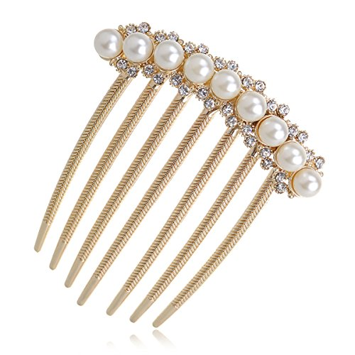 IPINK Wedding Bridal Rhinestone Pearl Crystal Hair Comb Claw Hairpin Hair Ornaments Accessory