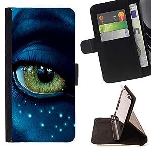 BullDog Case - FOR/LG G3 / - / eye alien close up blue green stars face /- Monedero de cuero de la PU Llevar cubierta de la caja con el ID Credit Card Slots Flip funda de cuer