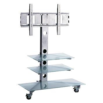 """BeMatik - Soporte de pie con ruedas y estanterias para pantalla plana hasta 50"""""""