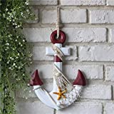 Lightlamp 12.9 inch Mediterranean Style Sea Anchor Iron Anchor Thermometer Ornament Hook Art Pendant Decoration (Color : 2)