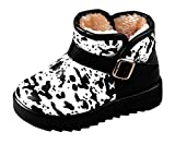 Cattior Toddler Little Kid Buckle Warm Winter Snow Boots Kids Leather Boots (13.5 M, Black)