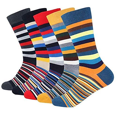 (Mens Colorful Dress Socks Stripe - HSELL Men Multicolored Stripe Pattern Fashionable Fun Crew Socks (Stripe - 5 Pairs))