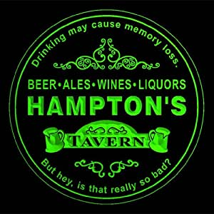 4x ccpx1380-g HAMPTON'S Tavern Room Bar Beer 3D engraved Drink Coasters