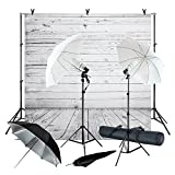 Julius Studio Wood Floor Backdrop 5 x 10 feet, with Umbrella Lighting Kit, Background Support Stand, Bulb, Socket, Spring Clamp, White & Black Umbrella Reflector, Photography Studio, JSAG355