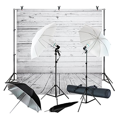 Photography Backdrop Kits (Julius Studio Wood Floor Backdrop Muslin with Umbrella Lighting Kit, Background Support Stand, Bulb, Socket, Spring Clamp, White & Black Umbrella Reflector, Photography Studio, JSAG355)