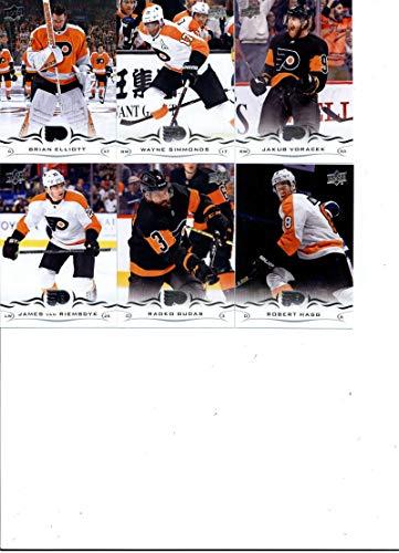 (2018-19 Upper Deck Series 2 Hockey Philadelphia Flyers Team Set of 6 Cards: Robert Hagg(#385), Radko Gudas(#386), James van Riemsdyk(#387), Jakub Voracek(#388), Wayne Simmonds(#389), Brian Elliott(#390) )