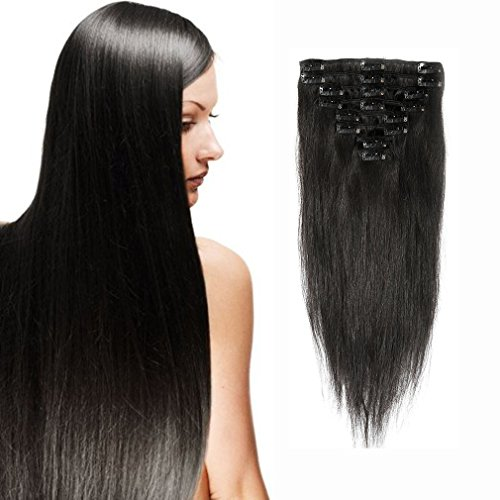Clip in 100% Remy Human Hair Extensions 10
