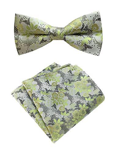 - Men Green Silver Silk Cravat Bow Tie Pocket Square Set Jacquard Mint Wedding Holiday Prom Neckwear