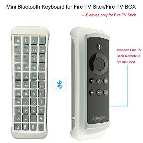 Mini Bluetooth Keyboard for Amazon Fire TV Stick, Greatever Wireless QWERTY Keyboard for Fire TV Stick/Fire TV Box, Also for Other Bluetooth Enabled Devices, Case Sleeve for Fire TV Stick Remote