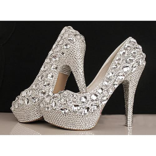 7227c9fefc7f9 Getmorebeauty Women's Bling Pearls Diamante High Heel Silver Wedding ...