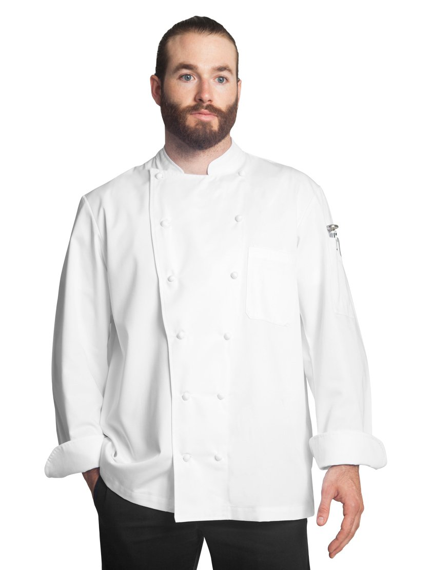 Bragard Men Alfredo Long Sleeve Double Breasted Chef Jacket Poly Cotton - White | Size 42 US | by Bragard