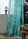 ASide BSide Modern Style Floral Printed Rod Pocket Top Sheer Curtains Voile Draperies Elegant Door Home Treatment For Dining Room Bedroom and Kids Room (1 Panel, W 52 x L 95 inch, Turquoise)